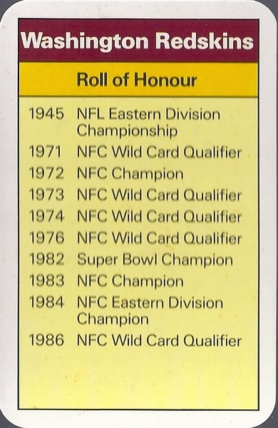 Redskins 1987 ACE Fact Pack UK Roll of Honour