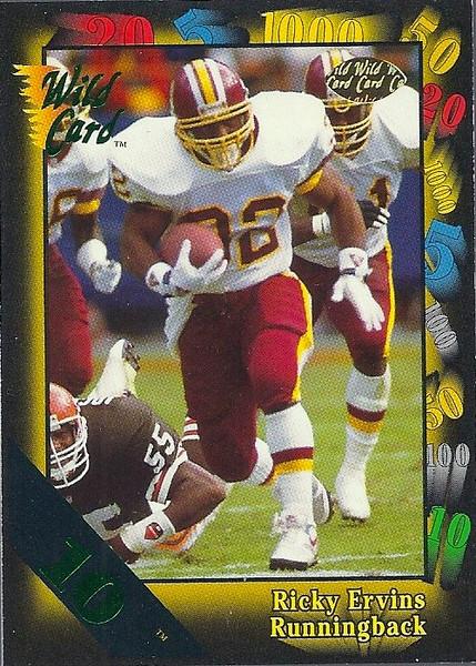 Ricky Ervins 1991 Wild Card 10 Stripe