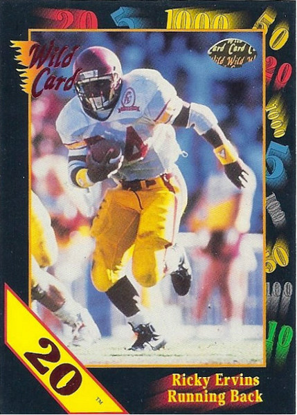 Ricky Ervins 1991 Wild Card 20 Stripe