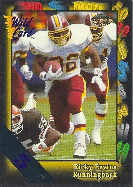Ricky Ervins 1991 Wild Card 5 Stripe