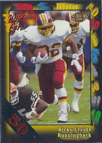 Ricky Ervins 1991 Wild Card 50 Stripe