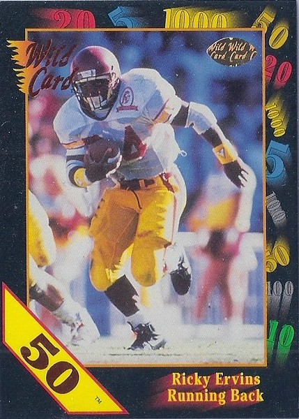 Ricky Ervins 1991 Wild Card Draft 50 Stripe