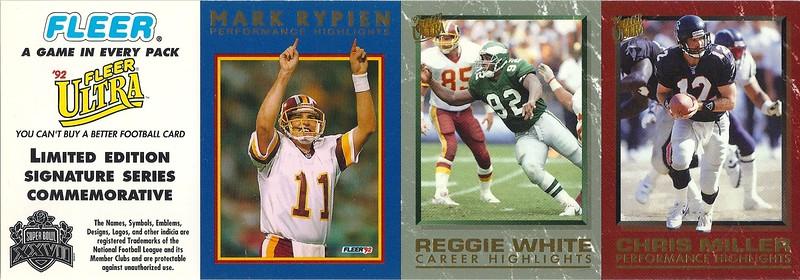 1992 Fleer Promo Panel Mark Rypien Performance Highlights