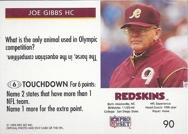 Joe Gibbs 1992 Pro Set FACT Back