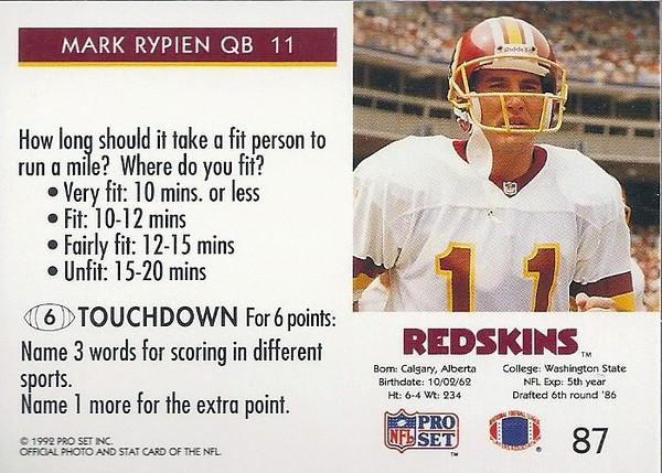 Mark Rypien 1992 Pro Set FACT Back
