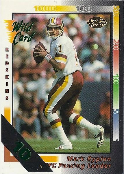 Mark Rypien Passing Leaders 1992 Wild Card 10 Stripe