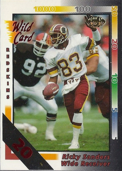 Ricky Sanders 1992 Wild Card 20 Stripe