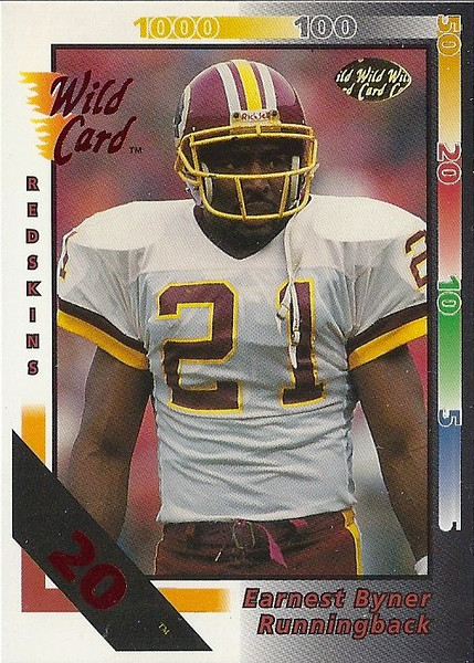 Earnest Byner 1992 Wild Card 20 Stripe