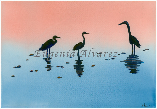 Herons on a Beach. Original Watercolor Painting Landscape Art Print Fine Art Print from Watercolor Painting Original Landscape Watercolor Painting