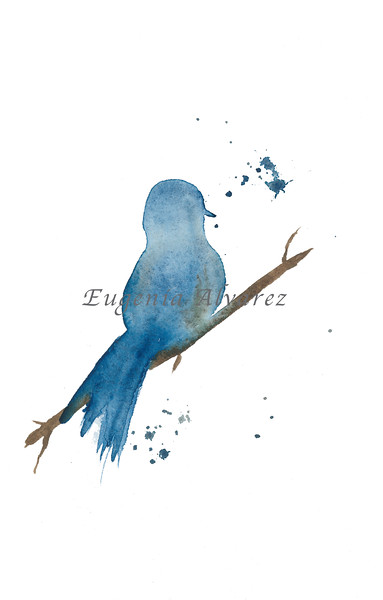 Side Blue Bird Watercolor Painting Art Print Fine Art Print from Watercolor Painting Bird Print Painting Art Minimalist Wall Art