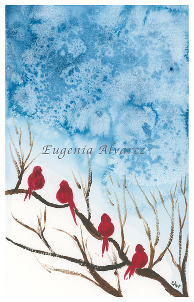 Red Birds and Blue Sky Watercolor Painting Art Print Fine Art Print from Watercolor Painting Bird Print Painting Art Mminimalist Wall Art Bird Watercolor Painting Art Print Fine Art Print from Watercolor Painting Bird Print Painting Art Minimalist Wall Art