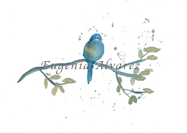 Blue Bird Watercolor Painting Art Print Fine Art Print from Watercolor Painting Bird Print Painting Art Minimalist Wall Art