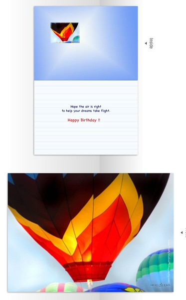 Inside reads:  Hope the air is right to help your dreams take flight.  Happy Birthday.
