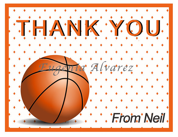 Personalized Basketball Thank You Cards. Basketball Cards For Children. Custom Girls Cards. Boy Thank You Cards. Children Custom Cards