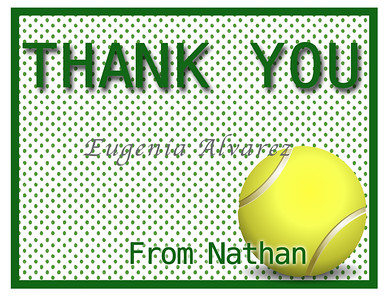 Personalized Tennis Thank You Cards. Tennis Cards For Children. Custom Girls Cards. Boy Thank You Cards. Children Custom Cards