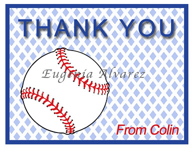 Personalized Baseball Thank You Cards. Baseball Cards For Children. Custom Girls Cards. Boy Thank You Cards. Children Custom Cards