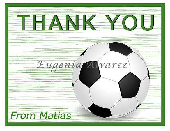 Personalized Soccer Thank You Cards. Soccer Cards For Children. Custom Girls Cards. Boy Thank You Cards. Children Custom Cards
