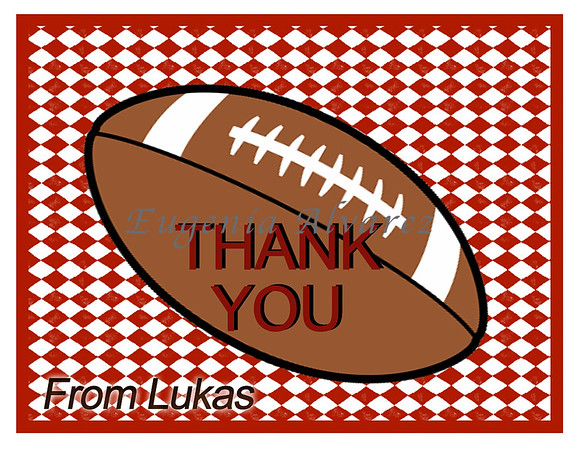 Personalized Football Thank You Cards. Football Cards For Children. Custom Girls Cards. Boy Thank You Cards. Children Custom Cards
