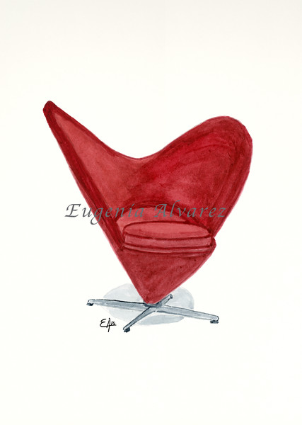 The Heart Cone Chair. Painting Art Print. Furniture Art Print Fine Art Print from Watercolor Painting Famous Chair  Art Print Verner Panton Watercolor Wall Art