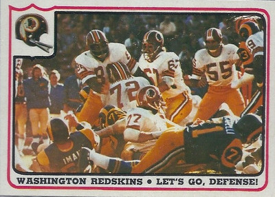1976 Defense Redskins Fleer Team Action