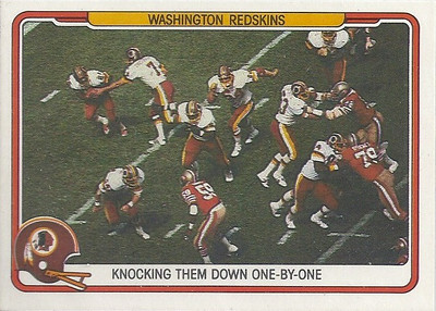 1982 Offense Redskins Fleer Team Action
