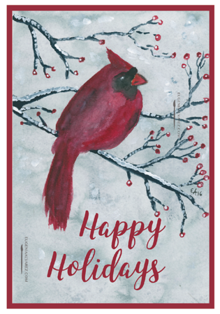 Red Robin Bird Card, Happy Holidays Greeting Card, Winter Card, Merry Christmas, Holiday Card, Christmas Card, Bird Christmas Card