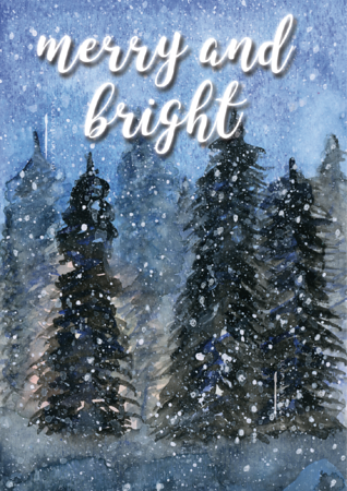 Merry and Bright, Winter Tree Card, Winter Wonderland Card, Merry Christmas, Holiday Card, Christmas Card, Happy Holidays Greeting Card