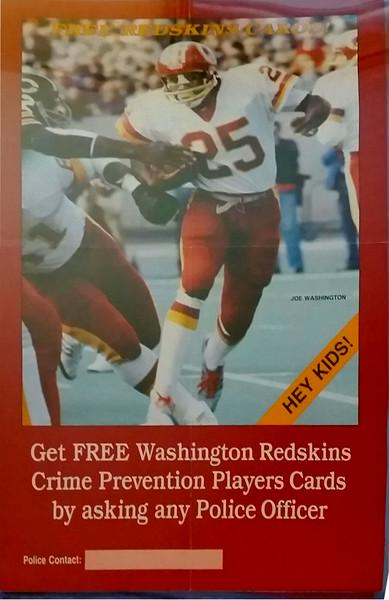 1982 Joe Washington Redskins Police Cards Poster