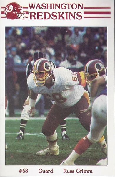 Russ Grimm 1985 Redskins Police Card