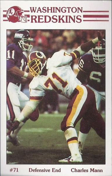 Charles Mann 1985 Redskins Police Card