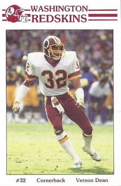 Vernon Dean 1985 Redskins Police Card