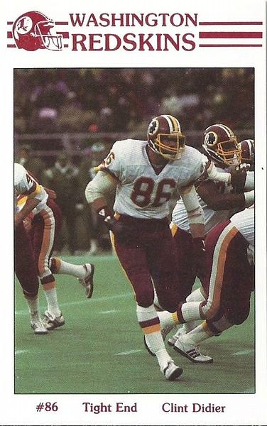 Clint Didier 1985 Redskins Police Card