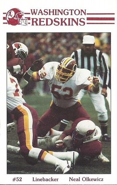 Neal Olkewicz 1985 Redskins Police Card