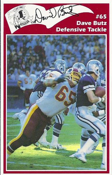 Dave Butz 1986 Redskins Police Card