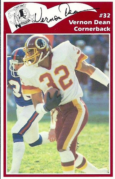 Vernon Dean 1986 Redskins Police Card
