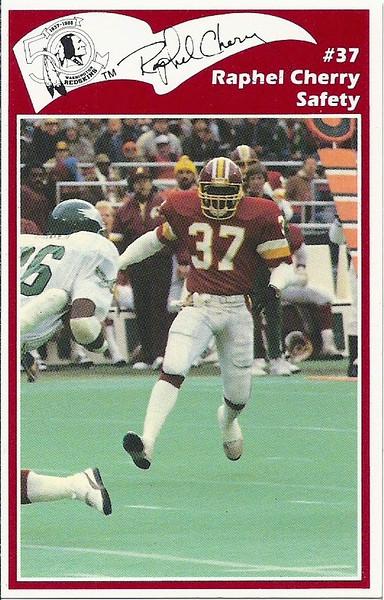 Raphel Cherry 1986 Redskins Police Card