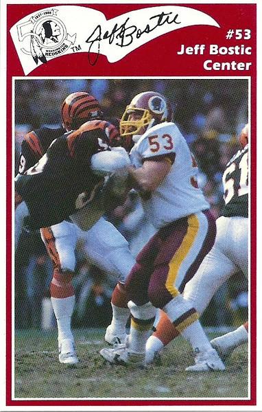 Jeff Bostic 1986 Redskins Police Card