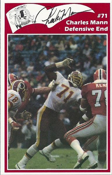 Charles Mann 1986 Redskins Police Card