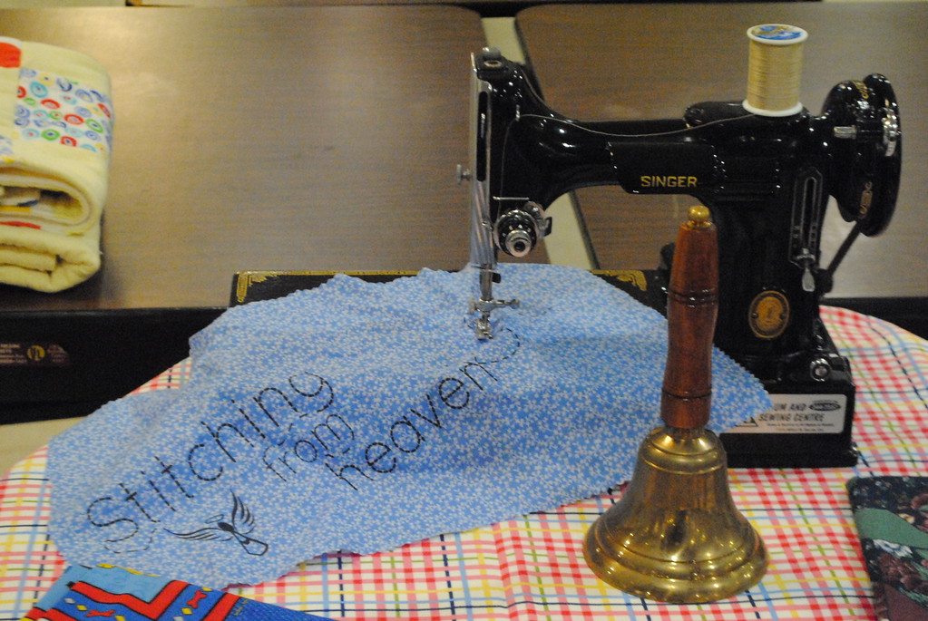 . A vintage sewing machine provided the centerpiece for the memorial table at the 2018 Care Bag Movement Sew-A-Thon. (Photos by Colleen Kowalewski)