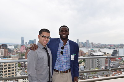 Seth Ortiz and Kingsley Amoako enjoy the view from atop Google offices