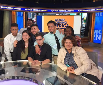 Students sitting in as Good Morning America hosts