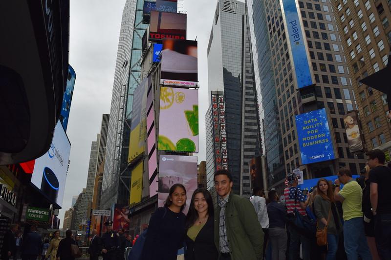 Daisy Altamirano, Ashley Sanchez, and Emanuel Viera de Andrade take in Times Square