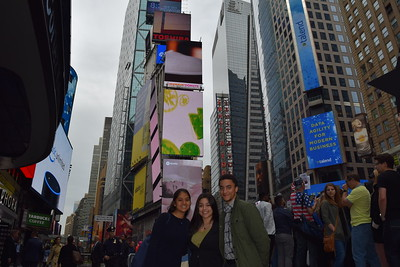 Daisy Altamirano, Ashley Sanchez, and Emanuel Viera de Andrade take in Times Square