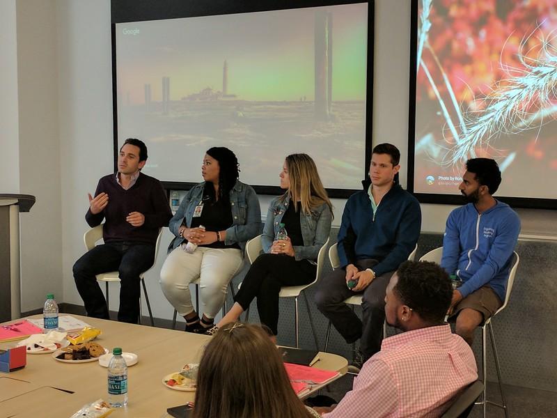 Google panelists from left to right: Pablo Mejia, Angelina Blackmon, Michele Narov, Drew Sidel, and Antonio D'souza
