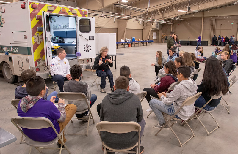 Seventh grade students sit down for a discussion with the Estes Park Medical Center and the Estes Park Fire Pevention District during their career fair on Jan. 25.
