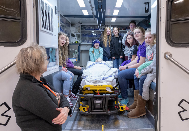 Seventh grade students at Estes Park Middle School got to onboard a paramedic vehicle from the Estes Park Medical Center.