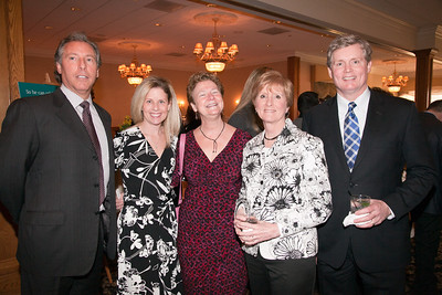 Tony Palmisano, Kristine Madden, Jeanne Leydon, Beth Dimitruk, Stewart Goff. 2013 Merrimack Valley Hospice Legacy of Leading Gala, Andover Country Club. Photo by Meghan Moore for Merrimack Valley Magazine.