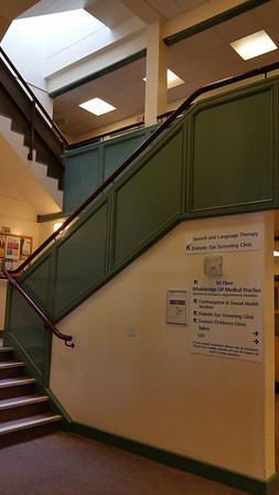 Upstairs to the diabetic eye clinic.