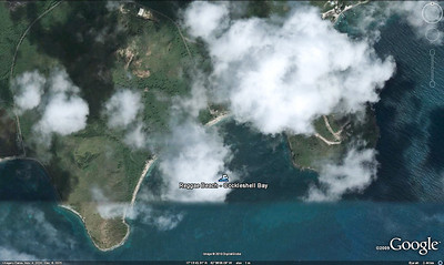 St Kitts - Cockleshell Bay Too bad the clouds are covering the actual position of Reggae Beach in this Google Earth image.