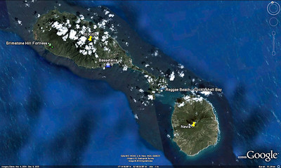 December 6 This Google Earth image sets the stage for our day on the island of St Kitts.